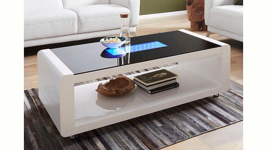 Couchtisch mit 3D-LED-Beleuchtung, auf Rollen