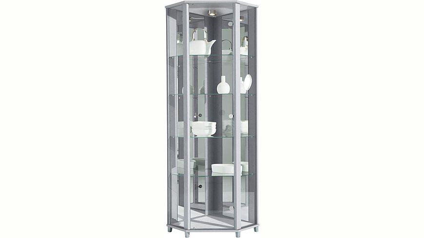 Eckvitrine, Höhe 172 cm, 4 Glasböden
