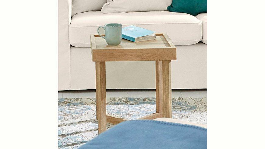 GMK Home & Living Beistelltisch «Vaida», aus massiver Eiche, Breite 40 cm