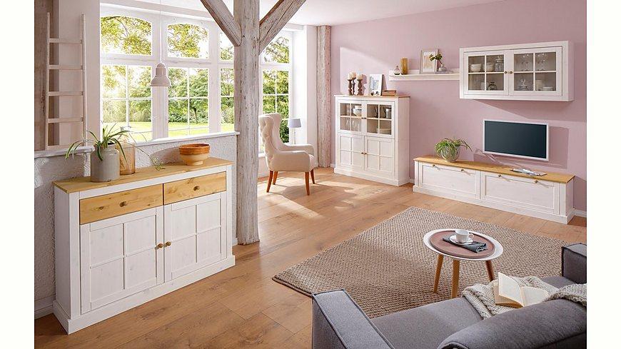 Home Affaire Highboard »Cindy«, mit dekorativen Fräsungen und Glastüreneinsätzen, Breite 124 cm