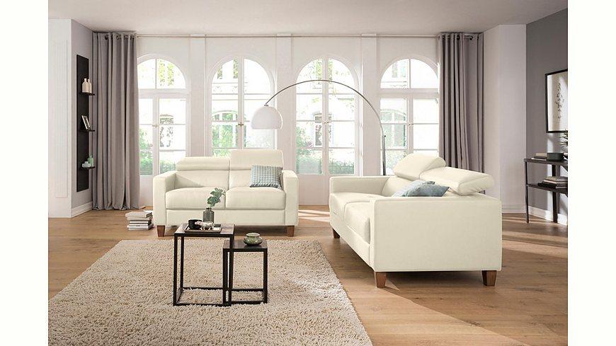 Home affaire 2-Sitzer + 3-Sitzer als Set »Luzern« mit verstellbarer Kopfstütze und Holzfüßen