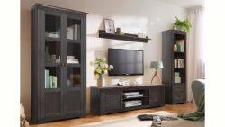 Home affaire 4-teilige Wohnwand »Laura«, mit 1 Vitrine 2trg., 1 TV-Lowboard, 1 Wandregal und 1 Regal