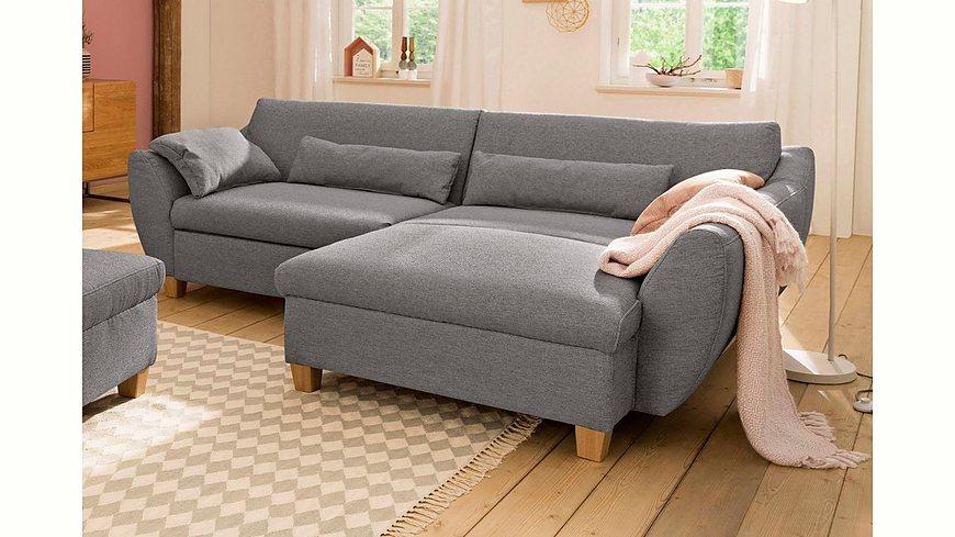 Home affaire »Becca« Polsterecke, wahlweise mit Bettfunktion in 3 Bezugsqualitäten, Holzfüße