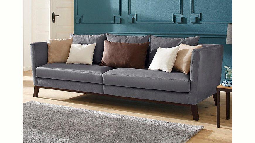 Home affaire Big-Sofa »Kim« mit Holzbeinen und vielen losen Kissen