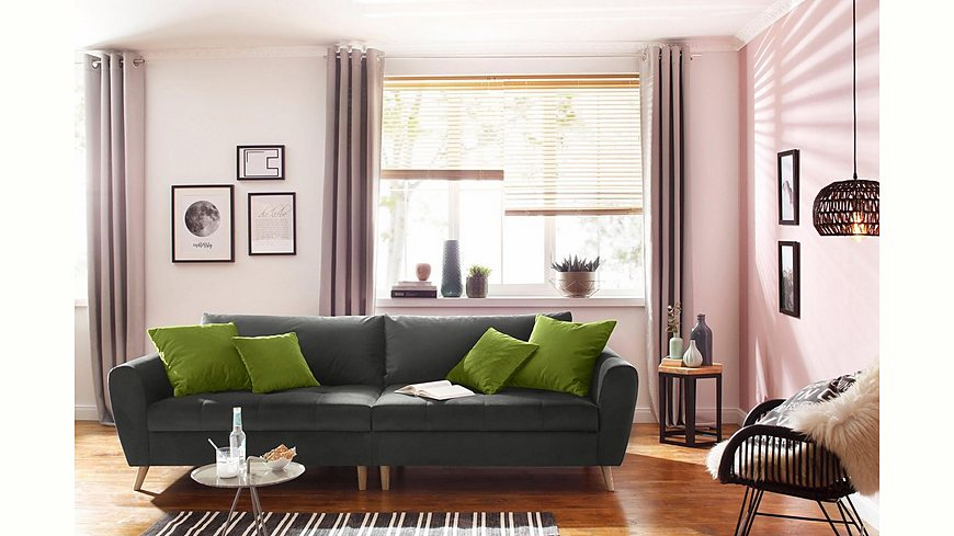 Home affaire Big-Sofa »Penelope«, feine Steppung, lose Kissen, skandinavisches Design