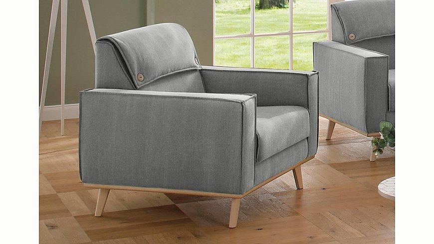 Home affaire Sessel »Fjord«, Kopfpolster mit Knöpfen, Keder, im skandinavischem Design