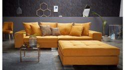Inosign Big-Sofa »Vale« mit Steppung im Sitzbereich, Federkern und Zierkissen