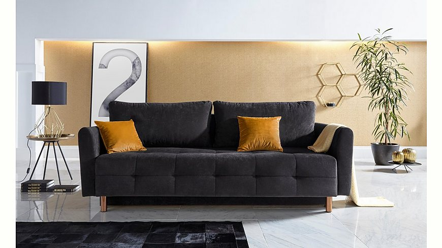Inosign Schlafsofa »Nordic metallic« mit Federkern und Metallbeinen, Steppung im Sitzbereich
