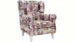 Ohren-Sessel »Angela Plus« mit Kedernaht, Zierkissen und Holzfüßen, in 3 Farben