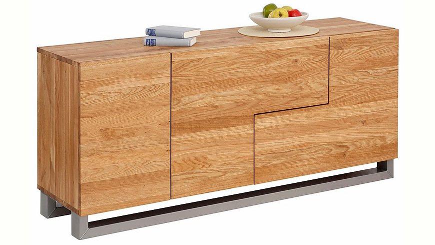 Premium Collection by Home affaire Sideboard »Moora«, Breite 160 cm aus massiver Eiche in außergewöhnlichen Look