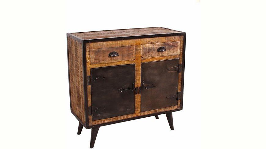 SIT Kommode »Iron«, Mangoholz mit Schmiedeeisen, mit 2 Türen und 2 Schubladen, Breite 80 cm