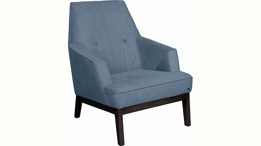 TOM TAILOR Sessel »COZY« im Retrolook, mit Kedernaht und Knöpfung, Füße wengefarben