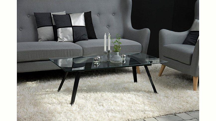 andas Couchtisch »Moritz« mit Glastischplatte aus klarem Glas und schwarzlackiertem Metall Gestell