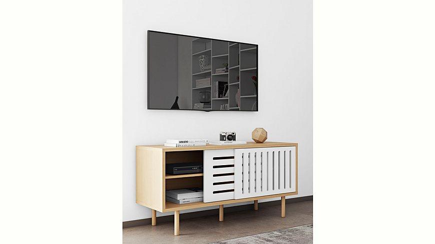 andas Sideboard »Dann«, aus Massivholz mit weiß/matten Fronten, in verschiedenen, Breiten