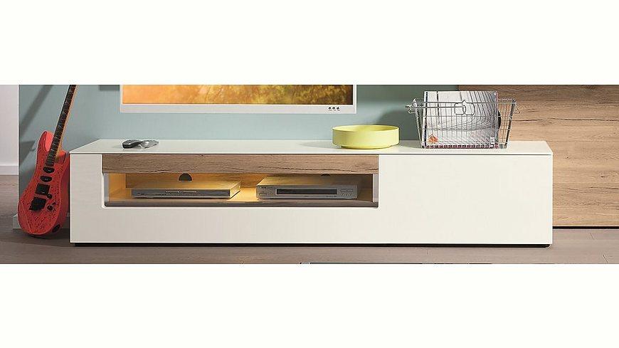 set one by Musterring Lowboard »arizona«, Hochglanz, Glasausschnitt links, Breite 205 cm