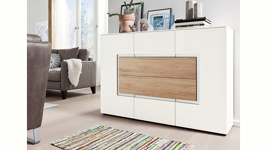 set one by Musterring Sideboard »arizona«, Hochglanz mit Absetzung in Holzoptik, Breite 143 cm