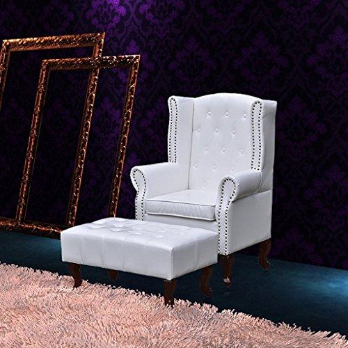 Anself Ohrensessel Sessel Armsessel Wohnzimmersessel Loungesessel mit Hocker Weiß
