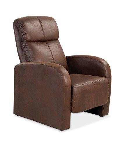 Fernsehsessel Relaxsessel Wohnzimmersessel REMOTE | Braun | Kunstleder | Mit Liegefunktion