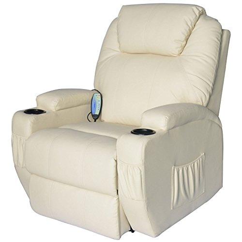 Homcom Massagesessel Relaxsessel mit Wärmefunktion Fernsehsessel Sessel Creme