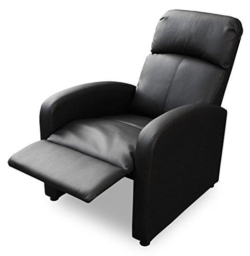 KMH®, Fernsehsessel/Relaxsessel *Patrick* - schwarz (Kunstlederbezug/verstellbar) (#204630)