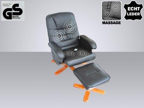 """Leder Massagesessel """"Basel"""" TV Sessel Farbe creme weiss oder schwarz mit Hocker! Schöner günstiger Fernsehsessel"""