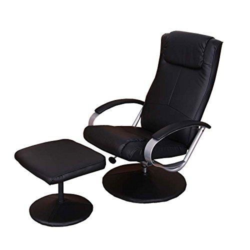 Mendler Relaxliege Relaxsessel Fernsehsessel N44 mit Hocker ~ schwarz
