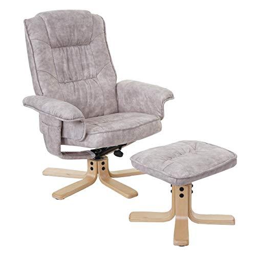 Mendler Relaxsessel M56, Fernsehsessel TV-Sessel mit Hocker, Stoff/Textil