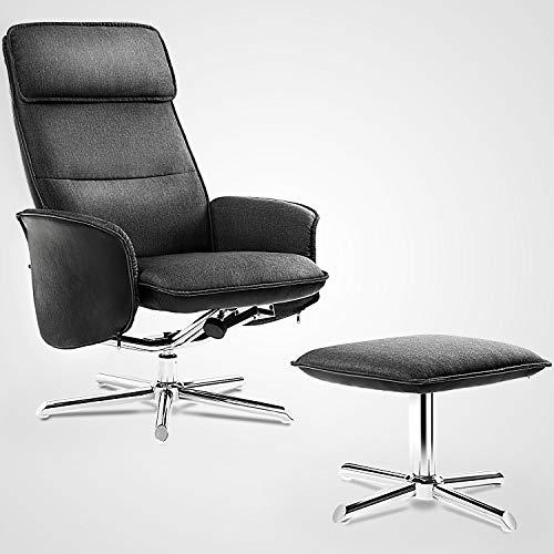 Modern Luxe  ® Relaxsessel Loungesessel Fernsehsessel mit Hocker 135° Kippbar Leinen Schwarz