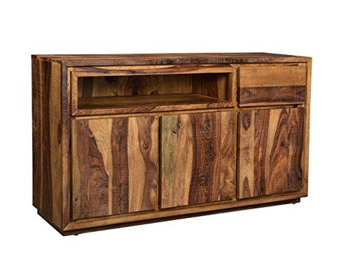 Woodkings Sideboard Blackdale 3türig Massivholz Palisander, Anrichte Design Kommode Schubladen, Sheesham Massiv Holzmöbel