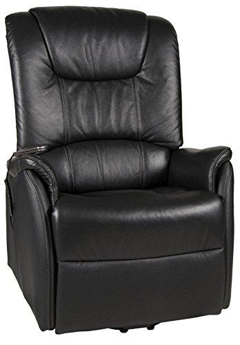 XXL-Fernsehsessel Messina bis 150kg Motor und Aufstehhilfe Leder schwarz
