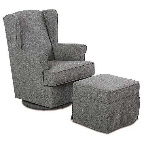 aktivshop Ohrensessel Relaxsessel mit Hocker, Fernsehsessel TV Sessel, Grau