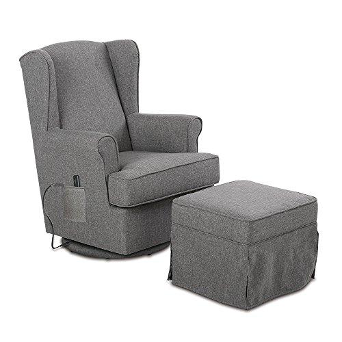 aktivshop Ohrensessel Relaxsessel mit Hocker & Massage, Fernsehsessel TV Sessel, Grau