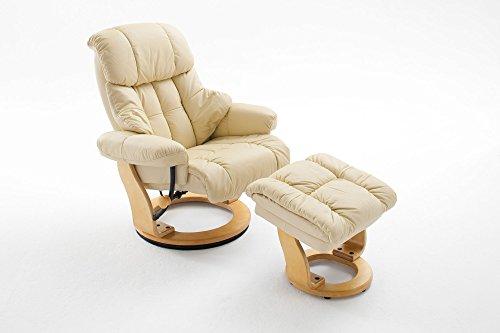 ifestyle4living Relaxsessel XL aus Leder in Beige mit Hocker | Fernsehsessel ist 360° drehbar und hat verstellbare Rückenlehne | Sessel lädt zum Entspannen ein