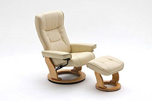 lifestyle4living Relaxsessel Leder, beige, Hocker | Fernsehsessel | Lesesessel | Entspannungssessel | Ruhesessel | Schlafsessel