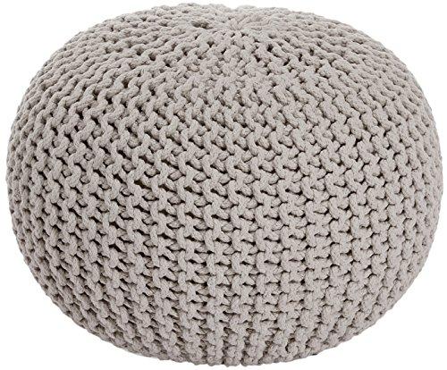 ANTARRIS Sitzhocker Sitzpuff Bodenkissen Ø 50 cm, 55 cm oder 80 cm ver. Farben Baumwolle (Ø 55 cm, beige)