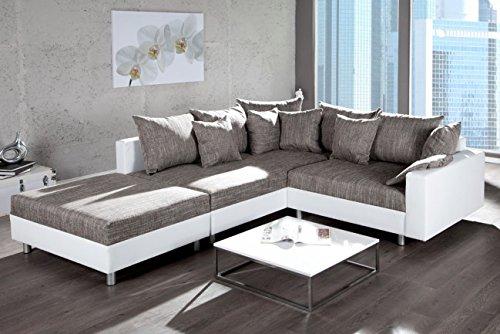 Design Ecksofa mit Hocker LOFT verschiedene Farben und Bezugstoffe mit Federkern Ottomane beidseitig aufbaubar