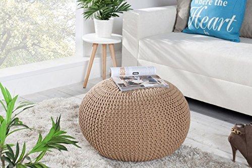 DuNord Design Hocker Sitzkissen Strickhocker Pouf BURLEY 50 coffee Strick Beistelltisch Ablage
