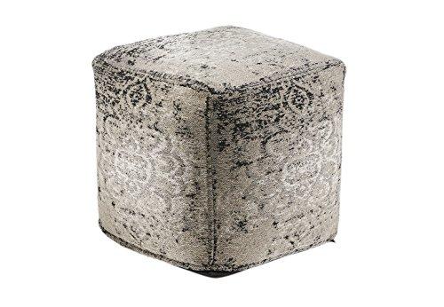 Kobolo Orientalischer Sitzpouf Gray indischem Webstoff 45x45x45 cm