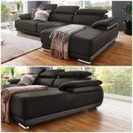 Moebella Designer Leder-Ecksofa Parma XXL-Sofa Couch mit Ottomane verstellbare Kopfstützen Teilleder Dunkel-Grau Hell-Grau
