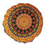 Rastogi handicrafts 32(COR Mandala Boden Kissen, Kissen mit Cover, Bohemian Hocker Poufs, Pom Pom Kissenbezug, Boho Indianer