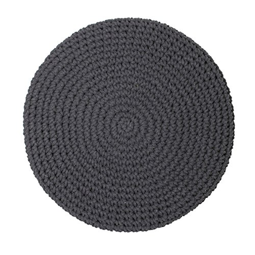 The Home Deco Factory hd3706 Pouf-Repose mit Fuß Geflochten Baumwolle/MDF