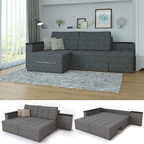 XXL Ecksofa mit Schlaffunktion 240 x 160 cm Grau - Eckcouch Relax Sofa Couch Schlafsofa Luxus Schlafcouch