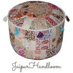 jaipurhandloom weiß Indian Pouf Hocker Vintage Patchwork verschönert mit Patchwork-Wohnzimmer osmanischen Cover, 46x 33cm oder 45,7x 33cm