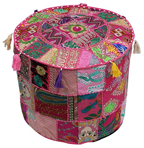 nandnandini–Schöne Handgefertigt Rund Rosa Weihnachten Deko Bohemian osmanischen Patchwork osmanischen indischen Stickerei indischen Vintage Baumwolle Pouf Fusshocker, Vintage Ottoman Bohemian Decor