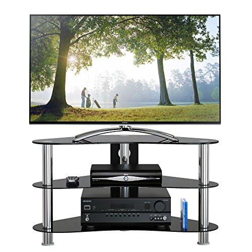 1home LCD-/Plasma-TV Rack Glas Tisch Ständer LCD Rack LED Tisch Fernsehtisch Schwarz Glas DREI Ablagen