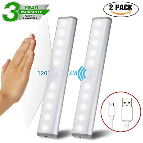 3PC LED Bewegungsmelder Schrankleuchten, Kleiderschrank Lampen Unterbauleiste Beleuchtung Küchenlampen, Schrankbeleuchtung Kabinett Nachtlicht Lichtleisten Spiegelschrank für Innen außen Schrank Küche