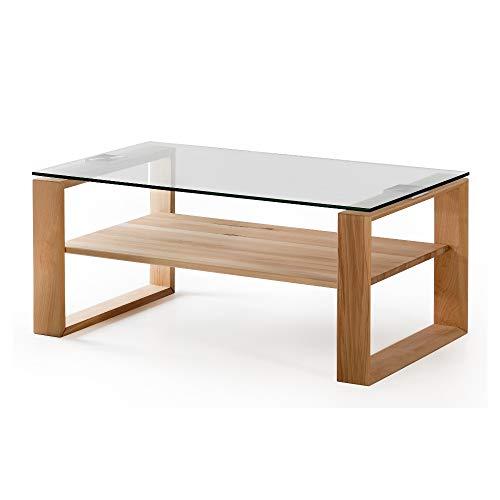 Alkove - Hayes – Moderner Couchtisch aus Massivholz mit Glasplatte