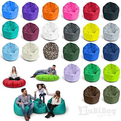 BuBiBag Sitzsack 2 in 1 Funktion mit Füllung in 32 Farben Sitzkissen Bodenkissen Kissen Sessel BeanBag