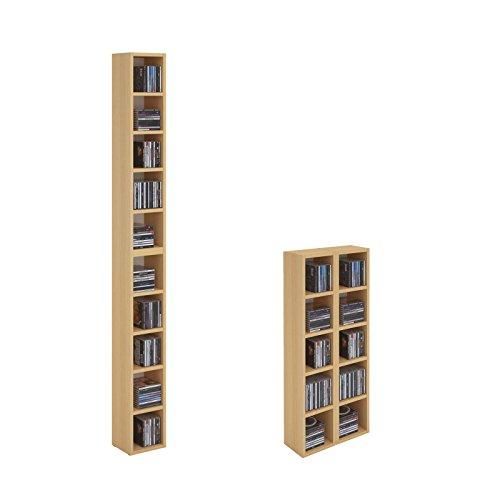 CARO-Möbel CD DVD Regal Ständer Aufbewahrung Chart, in Buche mit 10 Fächern für bis zu 160 CDs, 20x186,5 cm (Breite x Höhe)