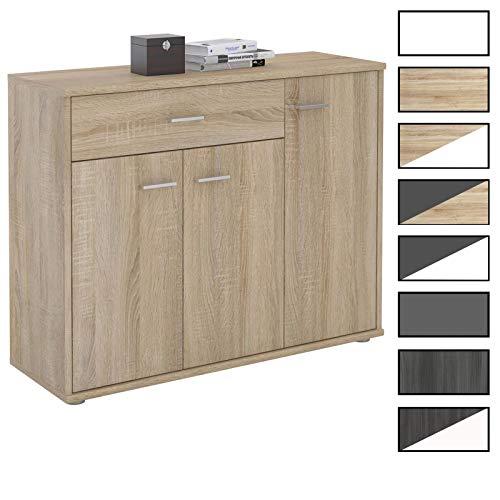 CARO-Möbel Kommode Estelle Sideboard Mehrzweckschrank, 9 Farben mit 3 Türen und 1 Schublade, 88 cm breit